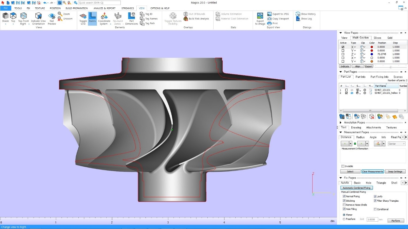 Master of a turbine wheel in Materialise Magics software