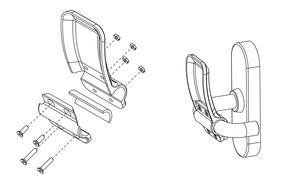 Illustration that shows how to install the hands-free door opener