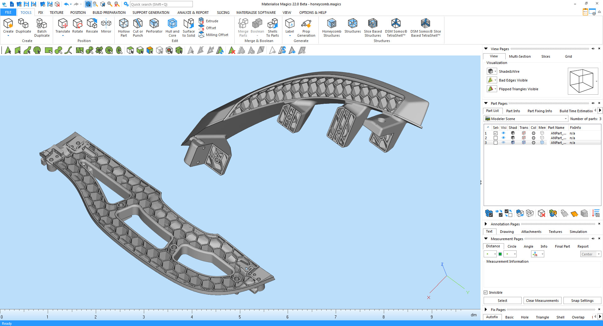 Screenshot of a honeycomb structure in Materialise Magics22