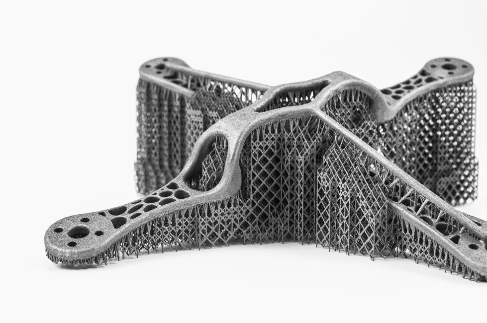 Metal support structure automatically created by Materialise e-Stage - In collaboration with volum-e