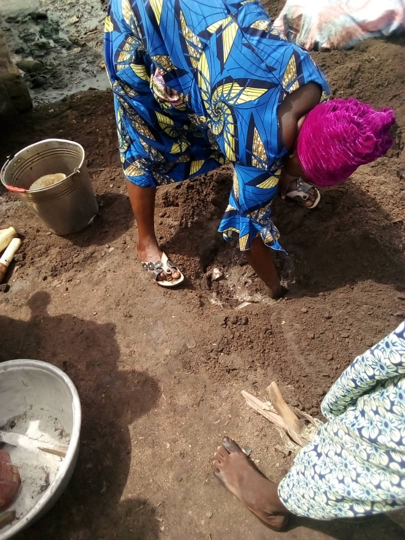 Benese women planting banana clippings