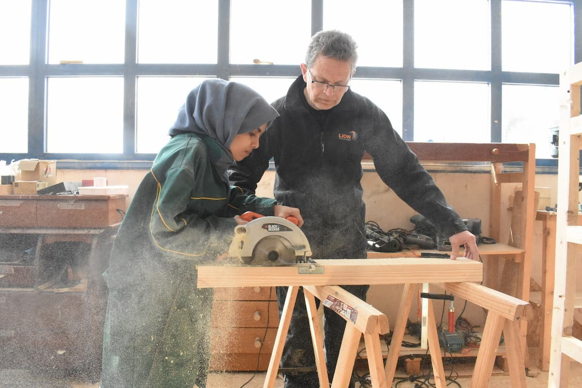 Wood workshop at the refugee camp