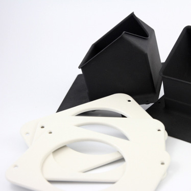 Black color dyed parts 3D printed in PA 2241 FR