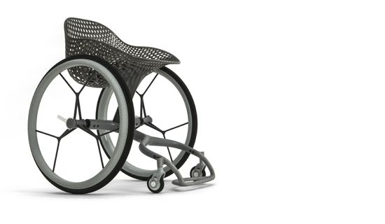 The Go Wheelchair. Printed in TuskXC2700T, PA, TPU & Aluminium using Stereolithography (SLA), Metal 3D Printing & Selective Laser Sintering (SLS) with black transparent, primer & painted finishes.