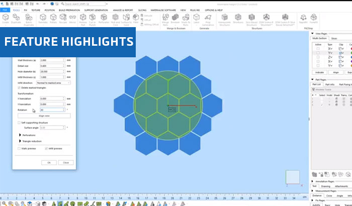 Honeycomb Structure Preview in Materialise Magics