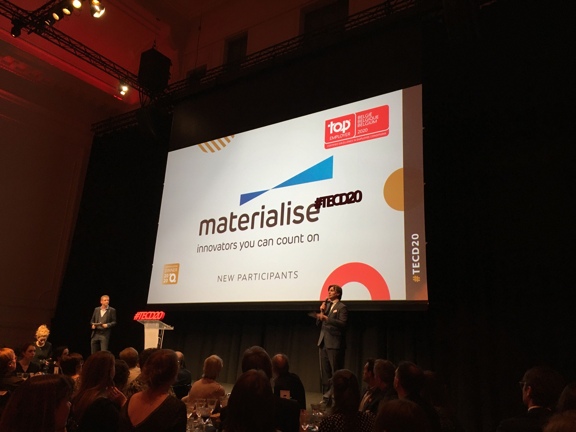 Materialise HR director accepting Materialise's Top Employer Belgium award