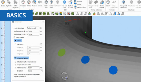 How to perforate 3D models in Materialise Magics