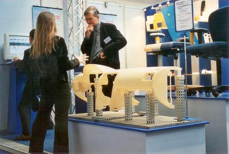 Materialise CEO, Fried Vancraen, and the first Mammoth demo part at Euromold, 2000