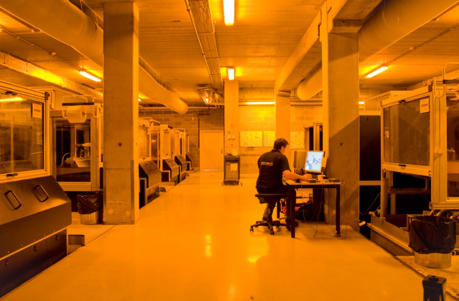 "The main Mammoth Stereolithography room in Materialise's ""Factory for 3D Printing"""