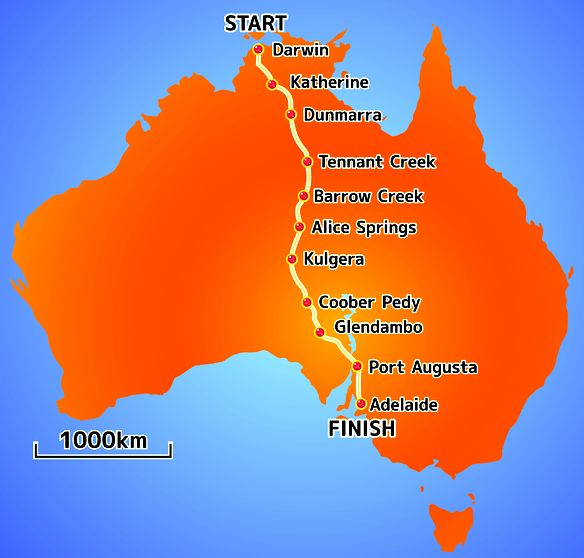 The route the Punch Powertrain Solarl Team took for the World Solar Challenge.
