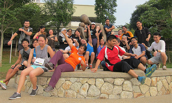 Crazy pose after the run. Everyone looks tired, but still energetic!