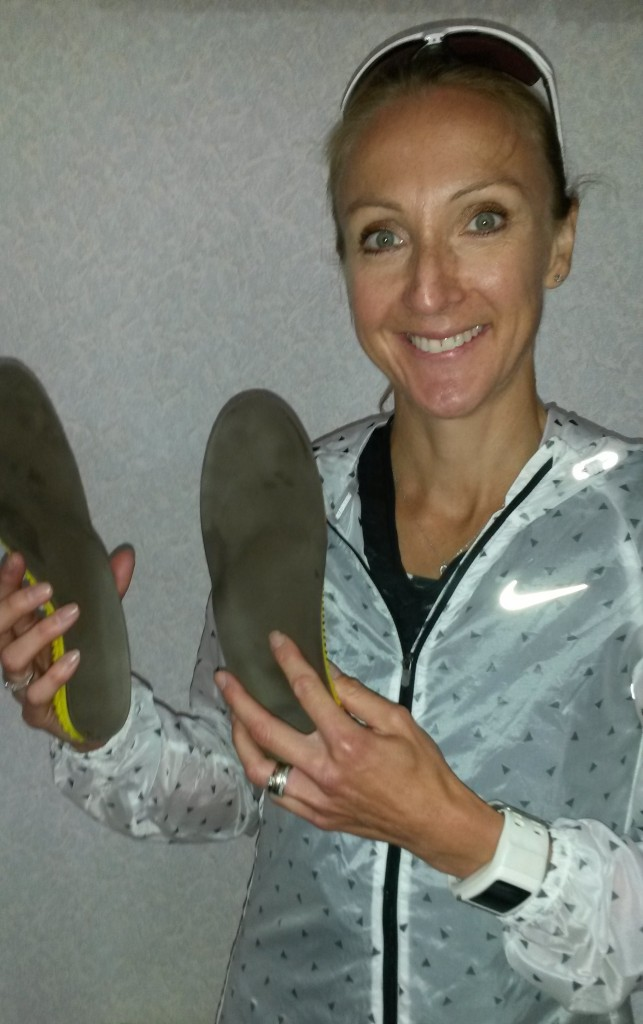 Paula Radcliffe with her RS Print insoles before the Worcester Marathon last fall.