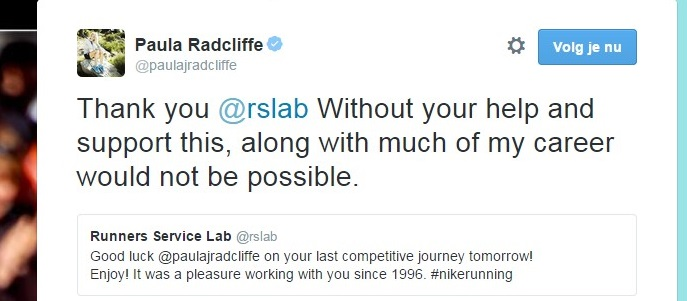 Paula Radcliffe Twitter message