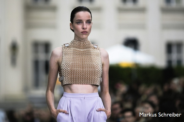 A model wears a creation of fashion designer Marina Hoermanseder's Spring/Summer 2016 collection during the Mercedes-Benz Fashion Week in Berlin (AP Photo/Markus Schreiber)