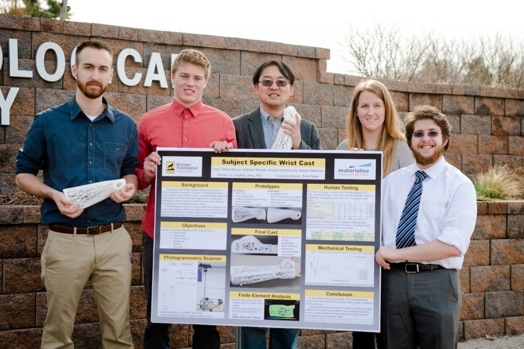Michigan Tech team presenting their 3D-printed cast research